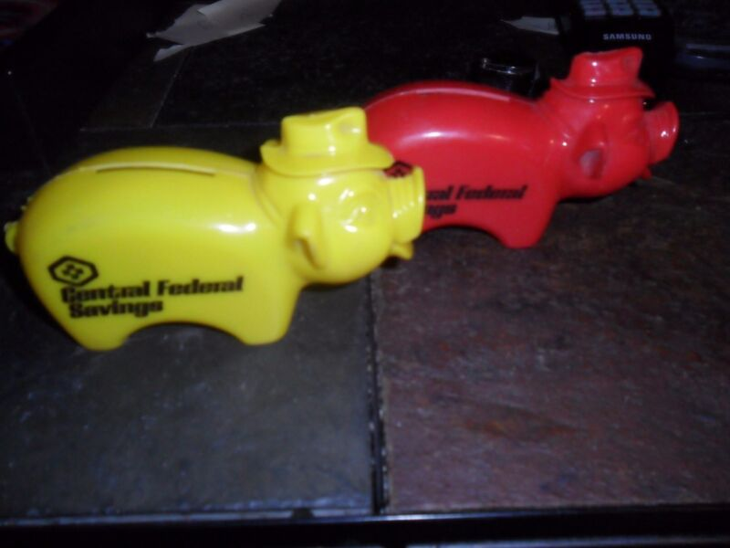 """Vintage (2) Yellow & Red 5"""" Plastic Pig Central Federal Savings Piggy Bank"""