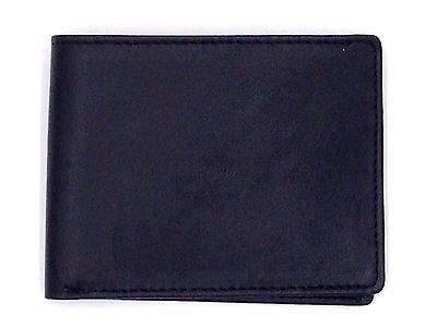 $75 PERRY ELLIS MEN'S BLACK LEATHER BILLFOLD 3CC PHOTO ID CREDIT CARD WALLET
