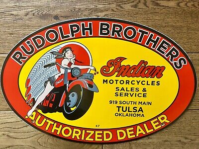RUDOLPH BROTHERS INDIAN MOTORCYCLE PORCELAIN ADVERTISING SIGN DATED 1947