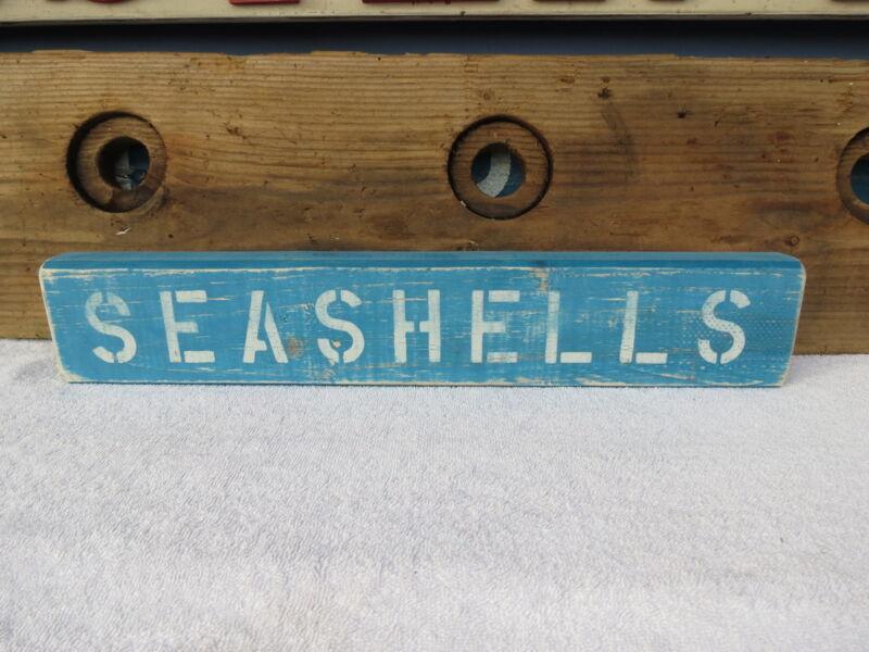 20 INCH WOOD HAND PAINTED SEASHELLS SIGN NAUTICAL MARITIME SEAFOOD (#S434)