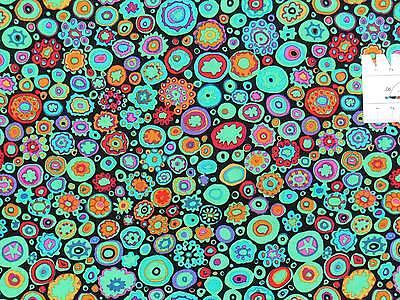 17,09m² 25cmx110cm Paperweight Kreise Blumen Grün Kaffe Fassett