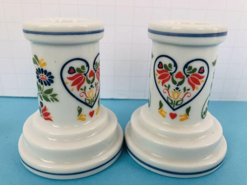 "MCM Decor Swedish Porcelain 2 Floral Porcelain Hand Painted Candle Sticks 2.6"""