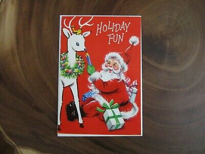 Vintage Christmas Card Santa Holiday Fun Connect The Dots A Sunshine Cards NOS ()