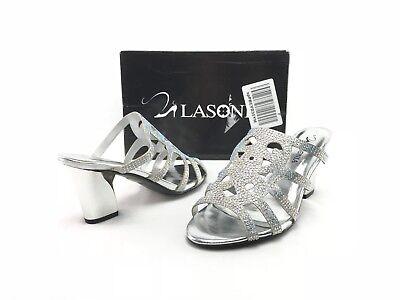 NEW Lasonia Women's Silver Open Toe Fancy Dress Sandal Heels US 6.5 Shoes B155