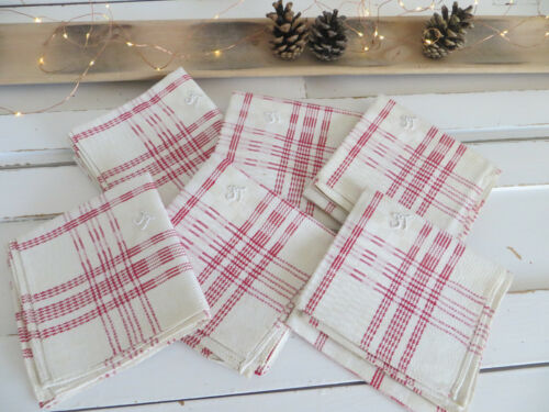 6 Six  Antique Towels Napkins Check Linen Red Stripes 22 inch by 20 inch unused