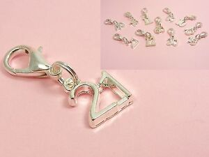 Silver-SP-Number-Age-BIRTHDAY-w-LOBSTER-Clip-On-CHARM-fits-Chain-Bracelet