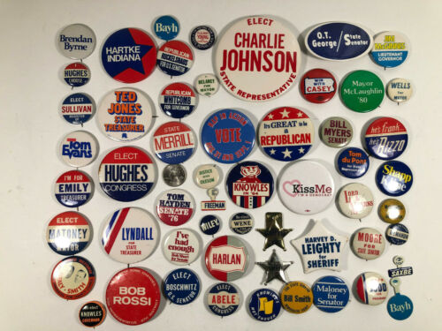 Multi State Local Political Pin Lot (56) Congress, Mayor, Governor Some Vintage