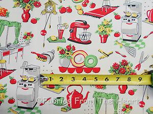 Retro Vintage Fifties Kitchen Dishes Tea Pots BY YARDS Michael Miller Fabric