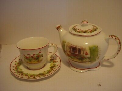 Brownlow Heritage China Ginger's Window 2003 Judy Buswell Teapot + Cup & Saucer