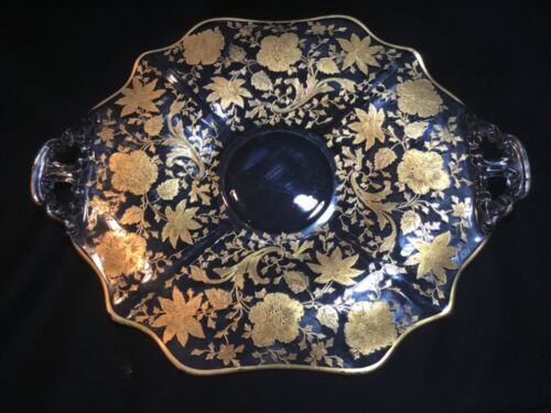 """Great Cambridge Wildflower Large 13.5"""" Platter Gold Encrusted Decoration WOW!"""