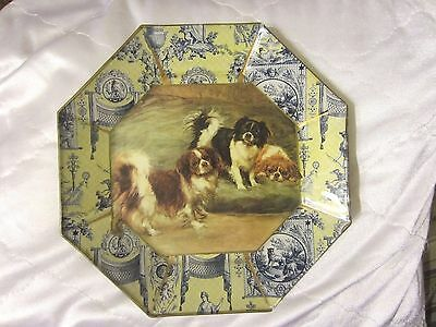 "Marye-Kelley Decoupage 9"" Octagon Glass Plate Cavalier King Charles Spaniel NR"