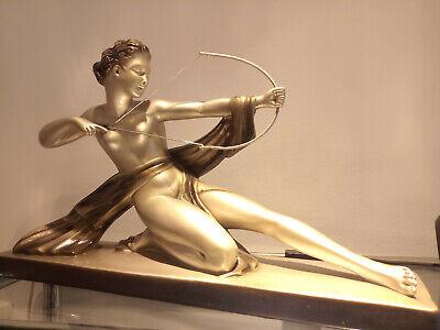 ART DECO Frauenfigur Bogenschütze ORIGINAL 30er JAHRE