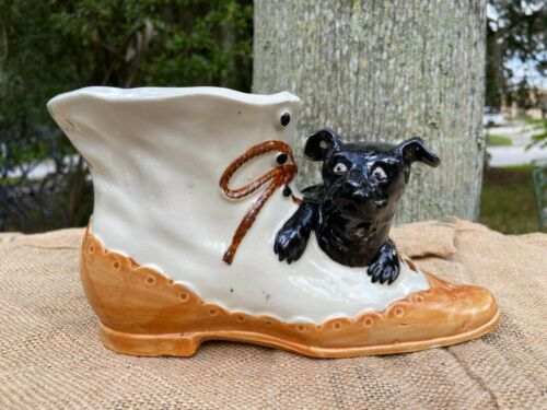 Rare Lg Vintage Shoe Planter with Dog Scotty Scottish Terrier Hand painted Japan