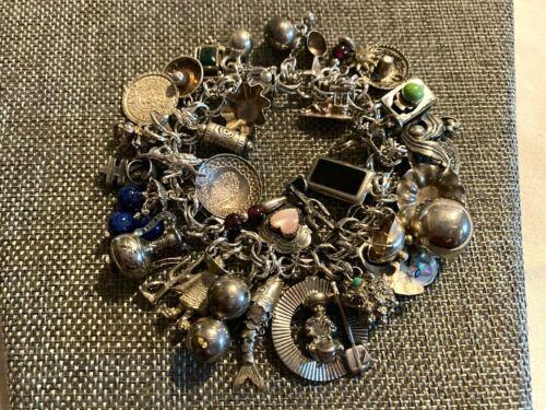 "Vintage Sterling Silver Southwest Theme 37 Charms Bracelet Mexico 6-7/8"" (90.9g)"