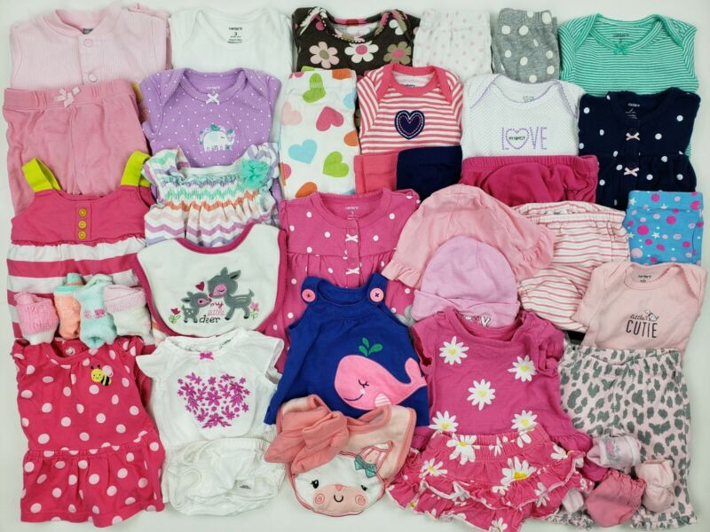 Nb-3 Months Girl Clothes Lot Carters Ralph Lauren Gerber Etc Onesie Newborn Pink