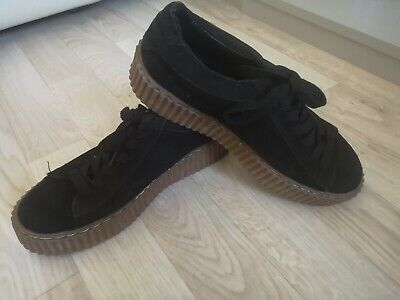 Ladies Puma Rihanna X Fenty Black Suede Trainers Dupes Size 7 Good Condition