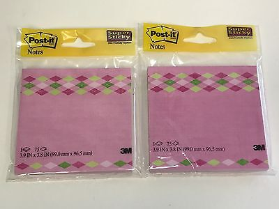 2 Pack Pink Designer Post-it Super Sticky Notes 4 X 4 3.9 X 3.8 75 Sheet