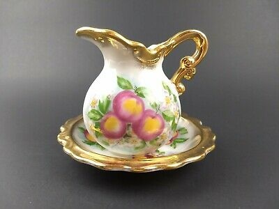 Vintage Royal Crown Apple Blossom Miniature Pitcher and Saucer Gold Trim 2920