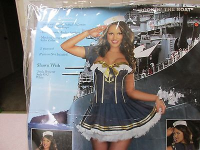 NEW Rockin the Boat Pin Up Sailor Girl Costume Adult Halloween Dress Navy large](Navy Pin Up Girl Costume)