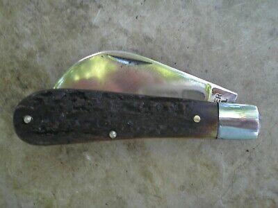 VINTAGE U.S.A. BOKER STAG HANDLE HAWKBILL / PRUNING KNIFE