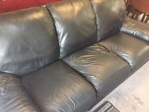 Like new black leather couch!