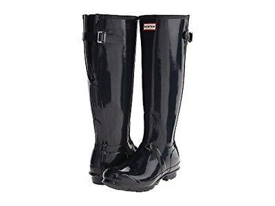 HUNTER ORIGINAL BACK ADJUSTABLE NAVY GLOSS RAIN BOOTS WOMEN WFT1001RGL *NIB* Hunter Original Gloss