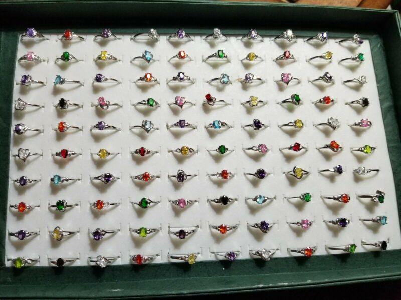 Wholesale Lot of 100 Birthstone Rings with .925 Sterling Silver Settings