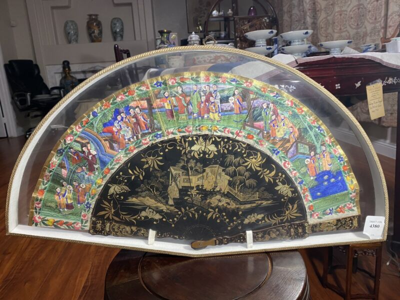 Antique Chinese Cantonese Gilt fan with lacquered sticks Double Side Painted