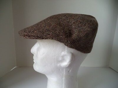 (Irish tweed flat cap hat Shandon Cork Ireland Brown speckled ivy men's scally)