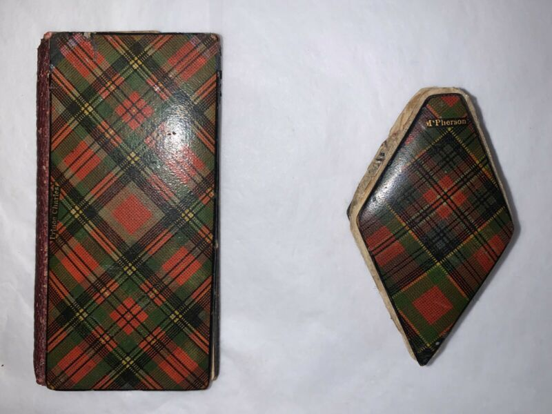 Two Scottish Tartanware Sewing Pin Cushions - Book Form & Diamond 19th Century