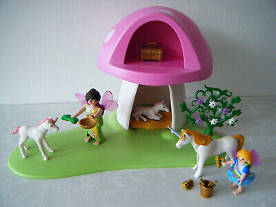 PLAYMOBIL FAIRY TOADSTOOL HOUSE with faires & unicorns