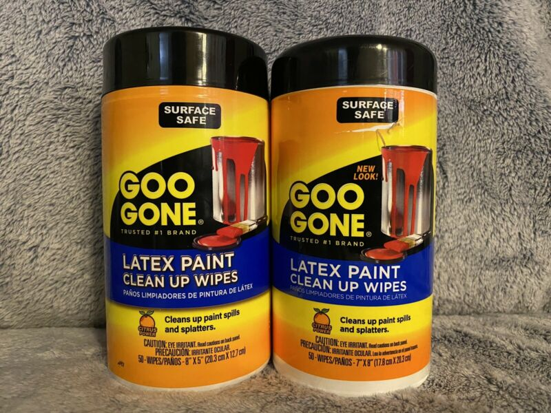 New Goo Gone Latex Paint Clean Up Wipe-50 per package, Lot Of 2