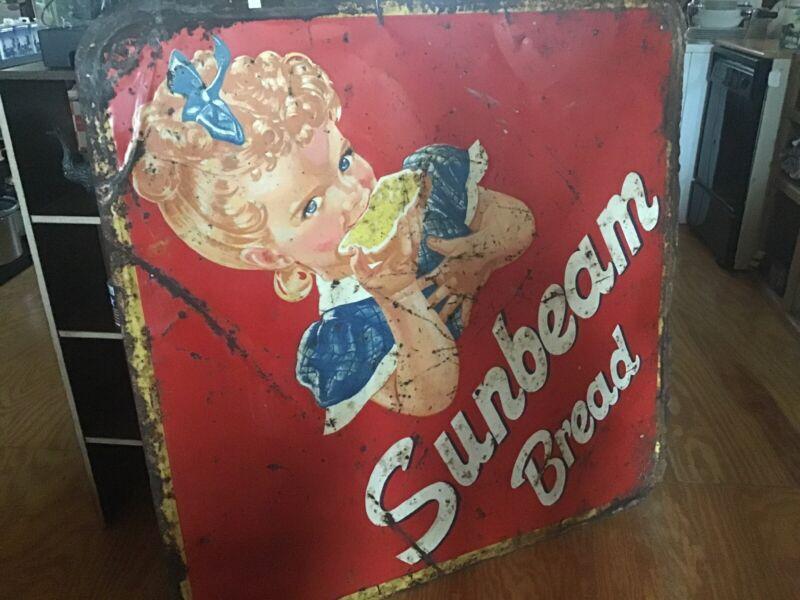 "Sunbeam Bread Original Embossed Metal & Paint 1950's Advertising Sign 47""x 47"""