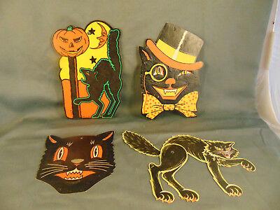 4 Vintage Beistle Co. Black Cats embossed die cut  Halloween window decorations