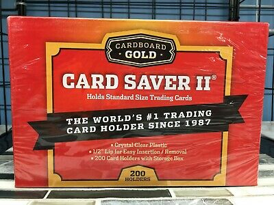 Card Saver 2 Cardboard Gold POKEMON SIZE PSA 200 Ct Holders w/ Storage Box #2200