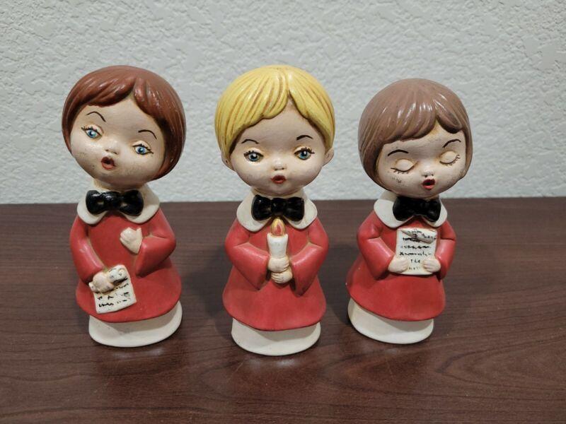 Vintage Christmas Choir Carolers Trio Ceramic Figurines Handpainted RENE