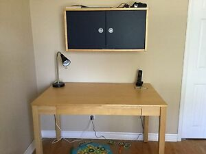 IKEA desk and wall cabinet