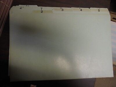 Vintage 2-31 Green Numbered Paper Stock File Guides 15x10 Legal Size