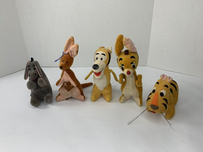 Vintage Lot Disney GUND Sears Stuffed Kanga Roo Eeyore Rabbit Tigger JAPAN Wood