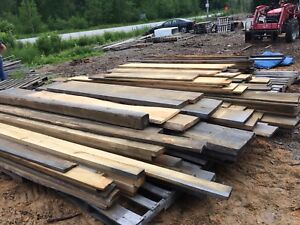 White pine lumber rough cut