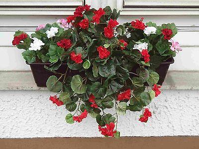 künstliche Blumen pflanzen Balkonkasten braun,  mit Geranien hänge rot/weis/rosa