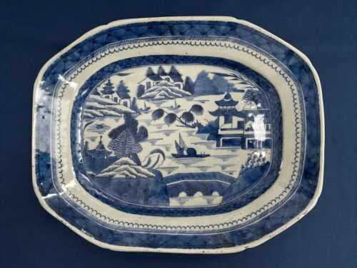 "Antique Chinese Export Blue & White Canton Platter 15 3/8"" by 12 1/4"""