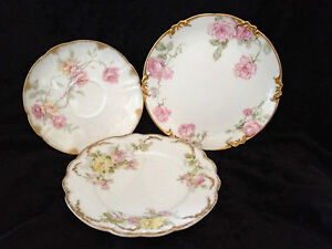 3 Antique Limoges France Plates Baltimore Rose Yellow & Pink Rose ~Cabbage Rose