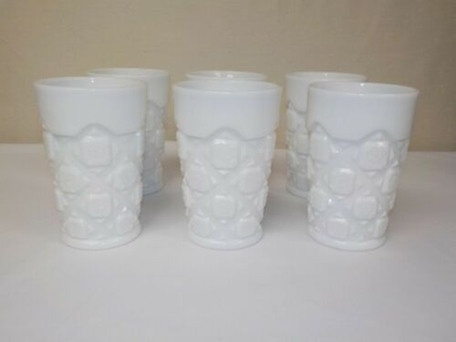 Westmoreland Milk Glass Old Quilt Pattern Tumblers Set of 6