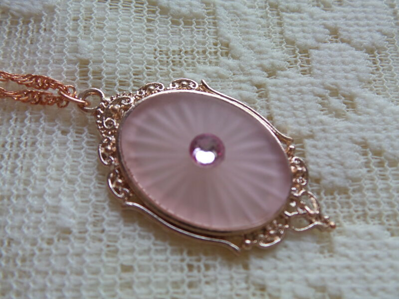 """HANDMADE VINTAGE PINK SUNRAY CRYSTAL FROSTED CAMPHOR GLASS NECKLACE 20"""" ROSE GOL"""