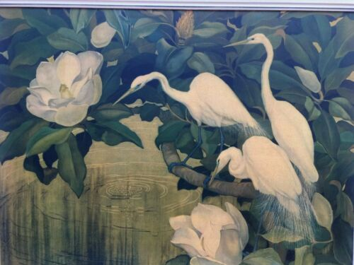 "VTG BIG EGRET PICTURE Framed Jessie Arms Botke Tropical Pool Reofect 41"" X 32"""