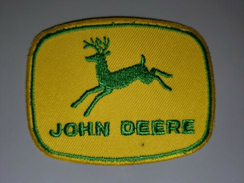 """JOHN DEERE YELLOW AND GREEN EMBROIDERED IRON ON PATCHES 3""""X2.25"""""""