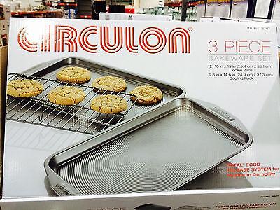 Circulon 3 Piece Bakeware Non Stick Baking Sheets Cookie Sheets Pan + Rack - Circulon Non Stick Bakeware