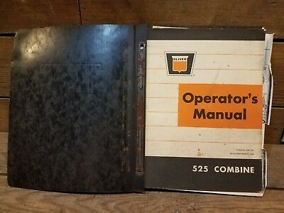 Oliver 525 Combine 522 And 544 Cornhead Operators Manual Parts Information Book