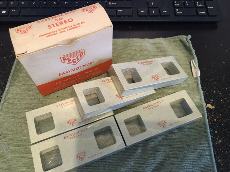 50 Pegco Easymounts Stereo Vintage 3D Twin Photo Slides Mounts New Frames